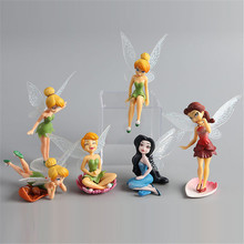 6 piece/set flying Fairy Adorable Tinker bell gift baby toy flower pretty doll Bonsai Decoration Action Figures PVC Doll Toy