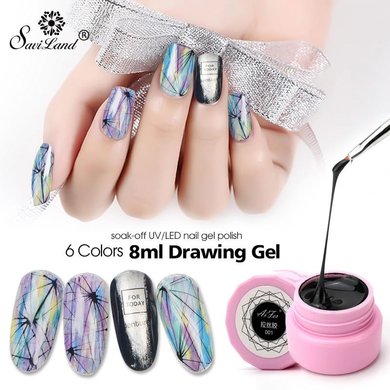 Saviland Wire Drawing Nail Gel Laca Pintura Gel Barniz Tirando de seda Araña Creativa Fototerapia Nail Art Gel Esmalte de uñas alambre