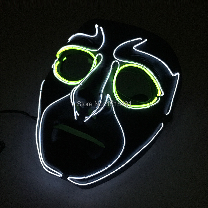 Newest Design Stylish Luminous EL Rope Tube Superhero Mask Colorful Sound Active Neon Light Up Cute Mask Birthday Wedding Lights