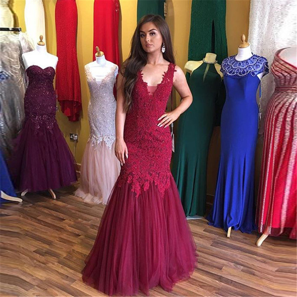 Weddings & Events Good White 2019 Prom Dresses Mermaid Halter Appliques Lace Slit Sexy Party Maxys Long Prom Gown Evening Dresses Robe De Soiree