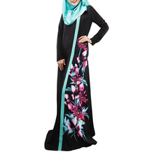 Women Floral Print Kaftan Abaya Jilbab Islamic Muslim Long Sleeve Maxi Dress