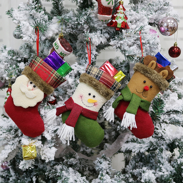 3pcsset christmas decorations santa claus snowman elk bear socks christmas stocking gift bag candy