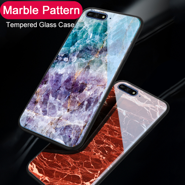 new styles 21a64 038e9 US $3.56 17% OFF|Marble Glass Phone Case For Huawei Y5 Y6 Prime Y8 2018  Fashion Tempered Glass Coque Back Cover Cases For Huawei Honor 7A Pro-in ...
