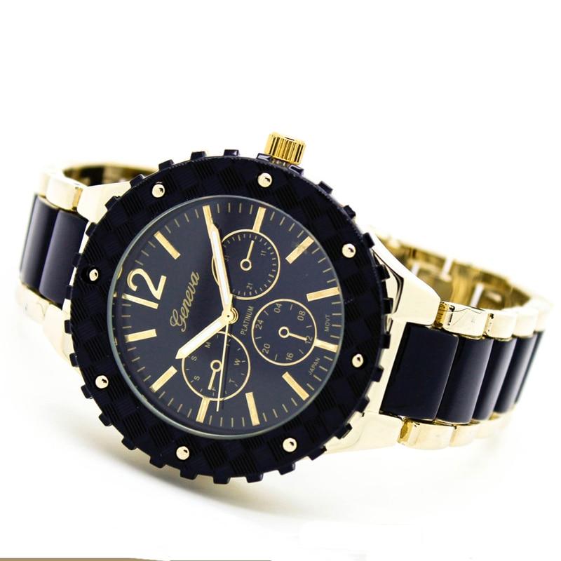 2016 nya svarta kvinnor titta på mode stora klocka kvinnor Genève 2 ton armband armbandsur vintage klocka klocka