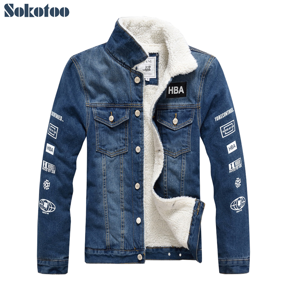 Sokotoo Men's winter warm fleece jacket Slim fit printed thicken denim coat Outerwear