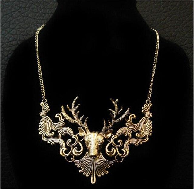 BONLAVIE 1 Piece Charming Elk Deer Collar Pendant Classic Vintage Statement Exquisite Choker Necklace Popular Jewelry