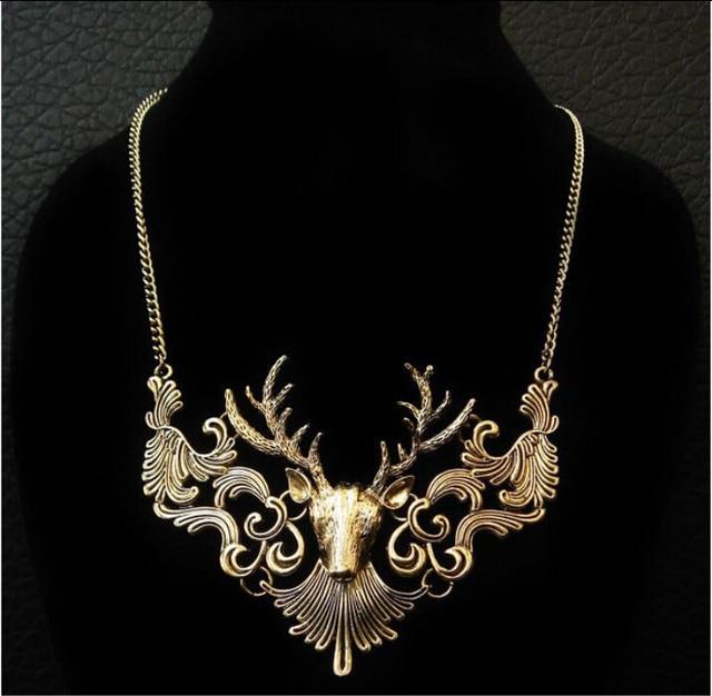 Charming Elk Deer Collar Pendant Classic Vintage Statement Exquisite Choker Necklace Popular Jewelry