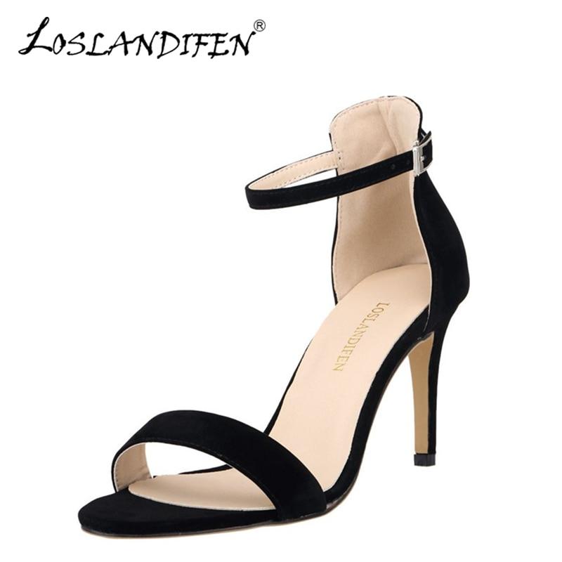 LOSLANDIFEN New Plus Size 35-42 Flock Black Women Sandals Classic Thin Heels Shoes Open Toe Summer Sandal Woman Wedding Shoe Red