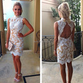 2016 Sexy Vestido De Festa High Neck Sleeveless Open Back White Lace Champagne Chiffon Cocktail Dresses 2016