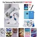 Чехол с мультяшным котом для Samsung Galaxy Tab A 8 0 T380 T385  умный чехол с подставкой для планшета  стилусом и пленкой  для Samsung Galaxy Tab A 8 0  T380  T385  SM-T385 2017  8 ...
