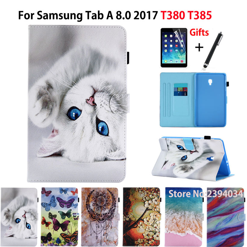 Cartoon Cat Case For Samsung Galaxy Tab A 8.0 T380 T385 SM-T385 2017 8.0 inch Smart Cover Funda Tablet Stand Shell+Stylus+film аксессуар закаленное стекло для samsung galaxy tab a 8 0 sm t385 df ssteel 63