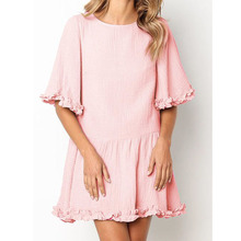 Kimuise O Neck Ruffles A Line Summer Dress Flare Sleve Casual Loose Mini Solid For Women Vestodos 2019