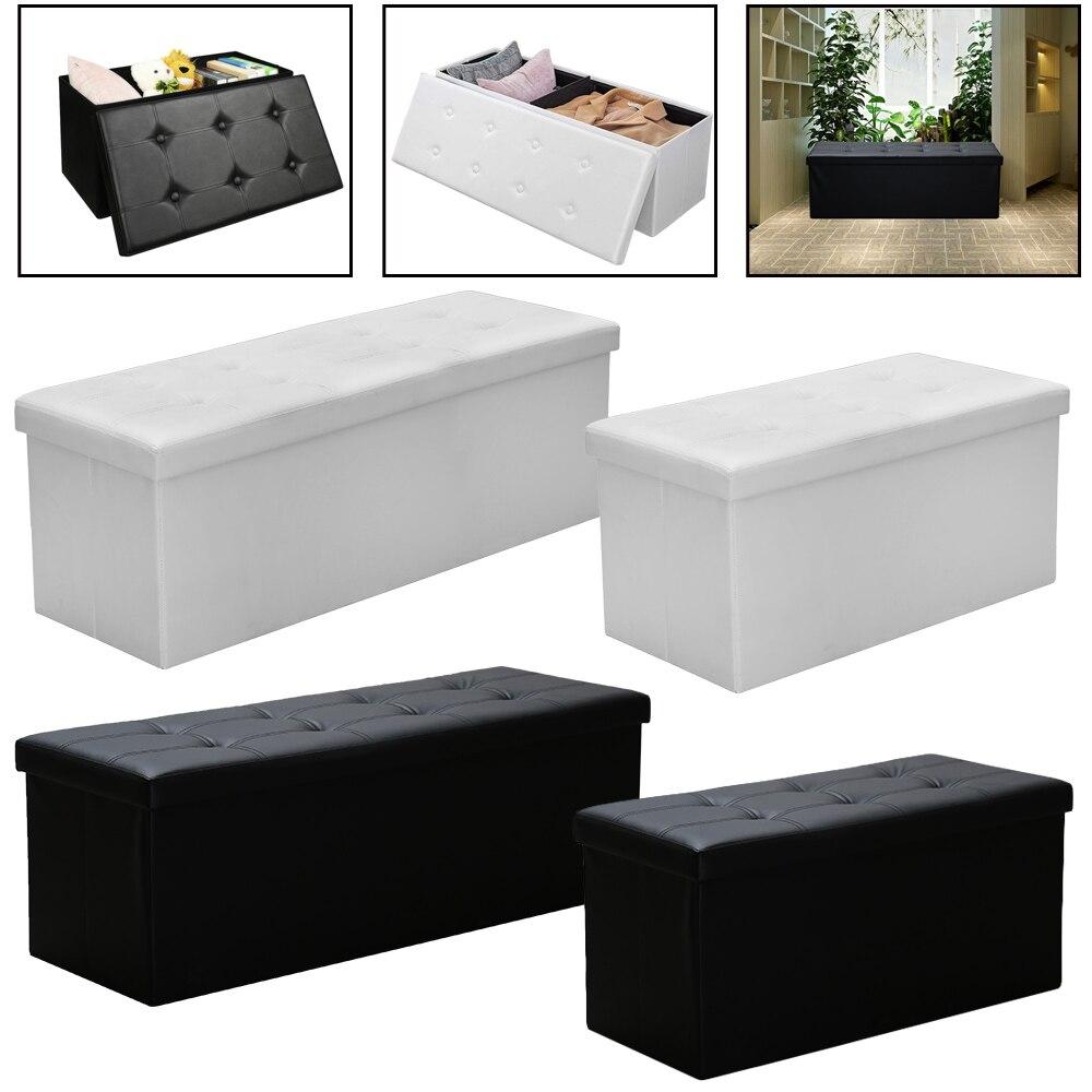 Noir/blanc chaise boîte de rangement tabouret de rangement banc pliable Stuhl couvercle amovible gain de place imperméable Sillas PVC chaises en cuir