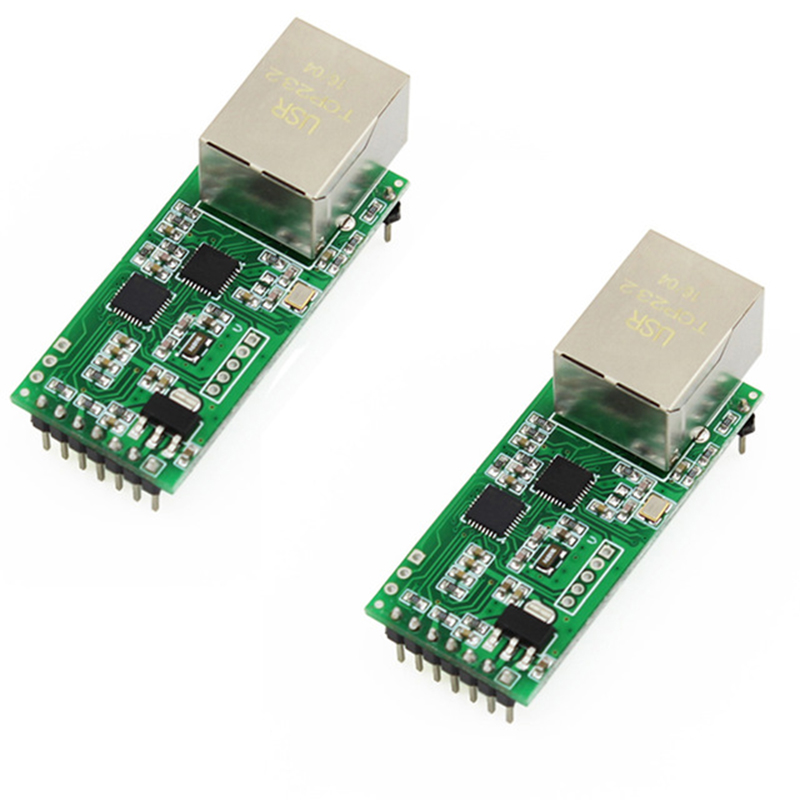 Q002-2 2PCS USR-TCP232-T2 Tiny Serial Ethernet Converter Module Serial UART TTL to Ethernet TCPIP Module usr tcp232 ed2 triple serial ethernet module ttl uart to ethernet tcp ip with new cortex m4 kernel free ship