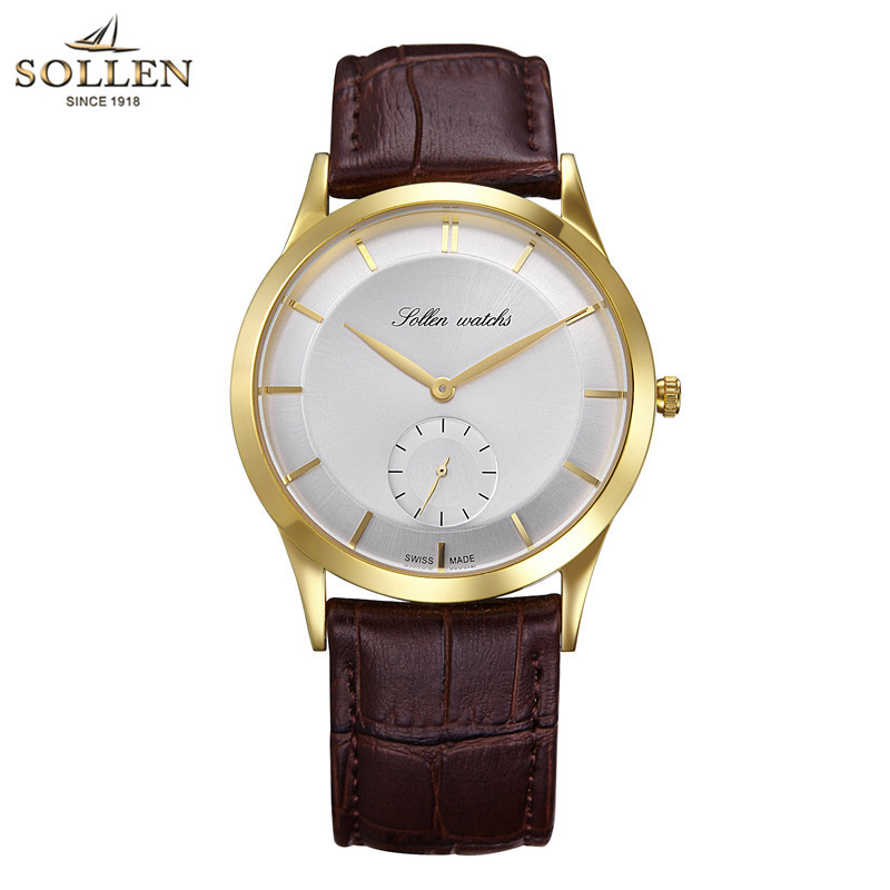 Fashion Men Wristwatch SOLLEN Top Brand Genuine Leather Luxury Famous Quartz Watch for Men Male Clock Relogio Masculino 2017 2017 agelocer swiss automatic watch men watches top brand luxury women famous genuine leather wristwatch male relogio masculino