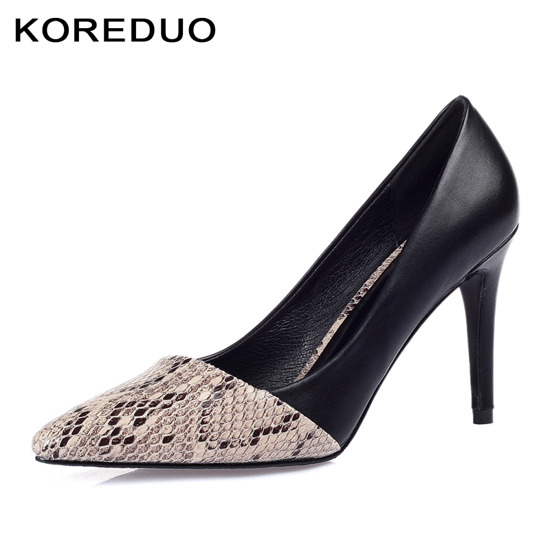 KOREDUO Classic Sexy Pointed Toe High Heels Women Pumps Shoes Snakeskin Printed Spring Brand Wedding Pumps Size 33-43 Snake msw