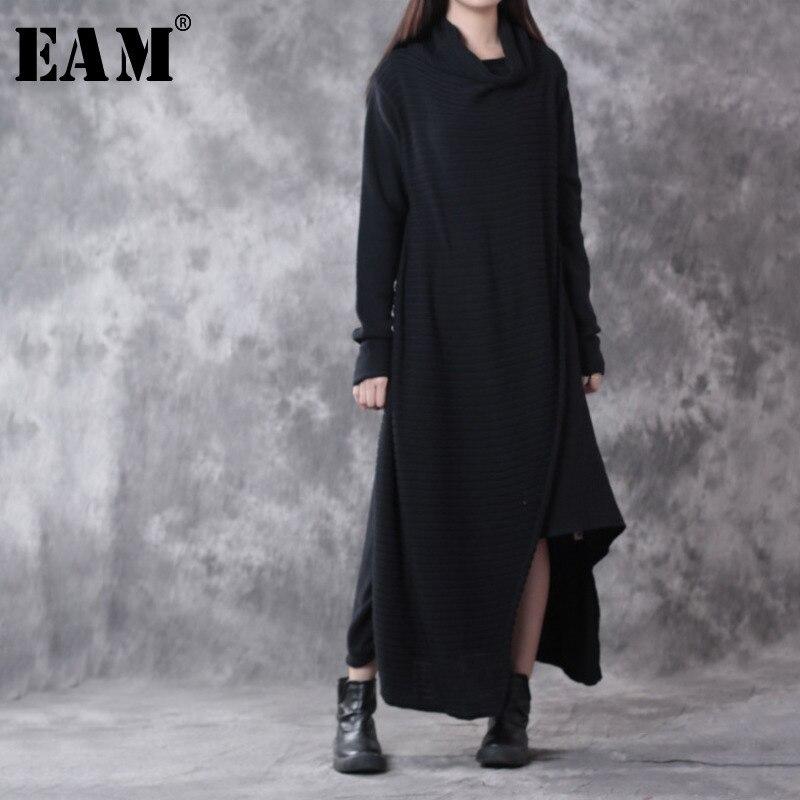 [EAM] 2018 Новый осень зима длинный рукав Высокий воротник Kintting Сплит пуловер Асимметричный Длинный свитер Женская мода прилив OB315