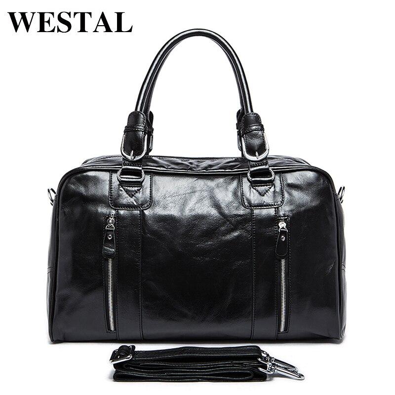 WESTAL Genuine leather Man Bag Leather Men's Large Travel Bags Vintage Language Handbag Male Crossbody Shoulder Bag 9048 цена