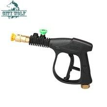 בלחץ גבוה מכונת כביסה תרסיס מים אקדח עם 2 PCS מתכת זרבובית רכב לשטוף חנות אבזר עיר זאב ניקוי כלי