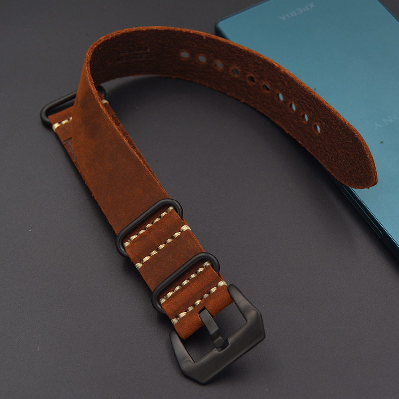 Hot Sales Genuine Leather Watchband 20MM 22MM 24mm 26mm Crazy horse skin Strap Nato Strap Waterproof Watch band High grade brown tjp handmade classic 18mm 20mm 22mm 24mm brown green khaki black nato genuine crazy horse leather sport pilot watch bands strap