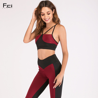 FRECICI 2018 Women Sexy Two Piece Set Summer Red Crop Top and Leggings Set Workout Fitness Tracksuit Red Sportswear Outfits