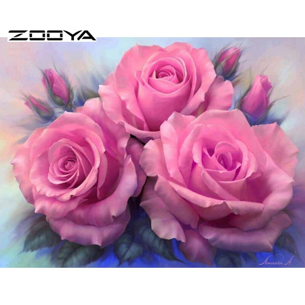 っZOOYA Costura Pintura Diamante Bricolaje Rosa Rosa Diamante ...