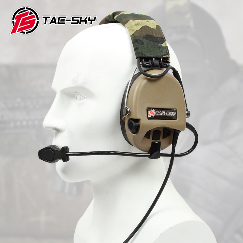 TAC SKY Airsofte Sordin silicone earmuffs noise reduction pickup military tactical hunting shooting headphones DE