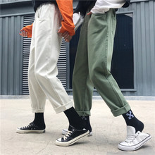 Overalls Pants Women loose white harem simple lazy cowboy nine points casual Women pants 2019 spring new female harajuku shein 2019 summer big code harem pants skinny students thin sports pants female loose white side nine points casual women pants