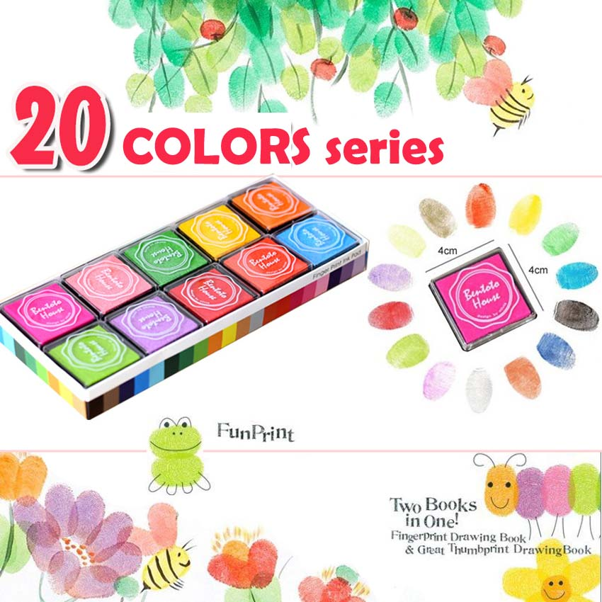 12/20/24 Colors Colorful DIY Craft Inkpad Handprints Plate Children Finger Painted Paint Finger Prints Ink Non-toxic Water Check