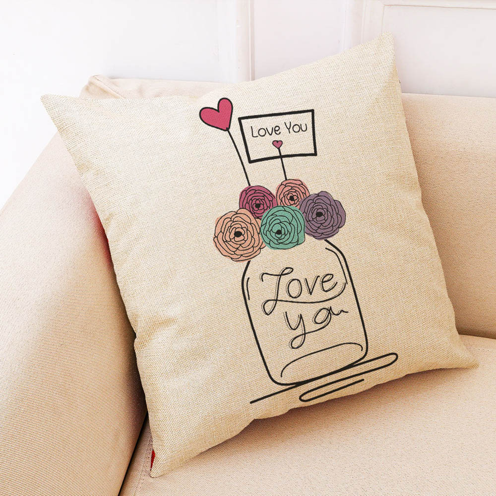 Image 2 - Sunmer Time vase Multicolor printing Pillow Covers Linen Blend High Quality Sofa Waist Throw Cushion Cover Bed Home Decoration-in Cushion Cover from Home & Garden