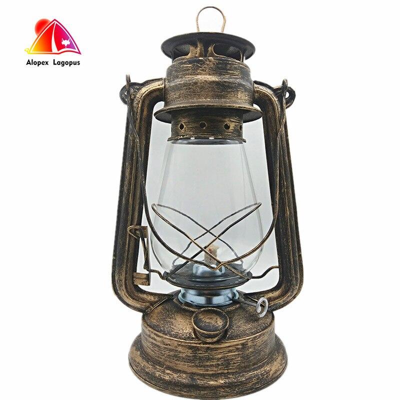 Lámpara de aceite grande de 31 cm de alto brillo de gran capacidad 2017 lámpara de queroseno de Estilo Vintage para Bar cafetería lámpara de mesa LED