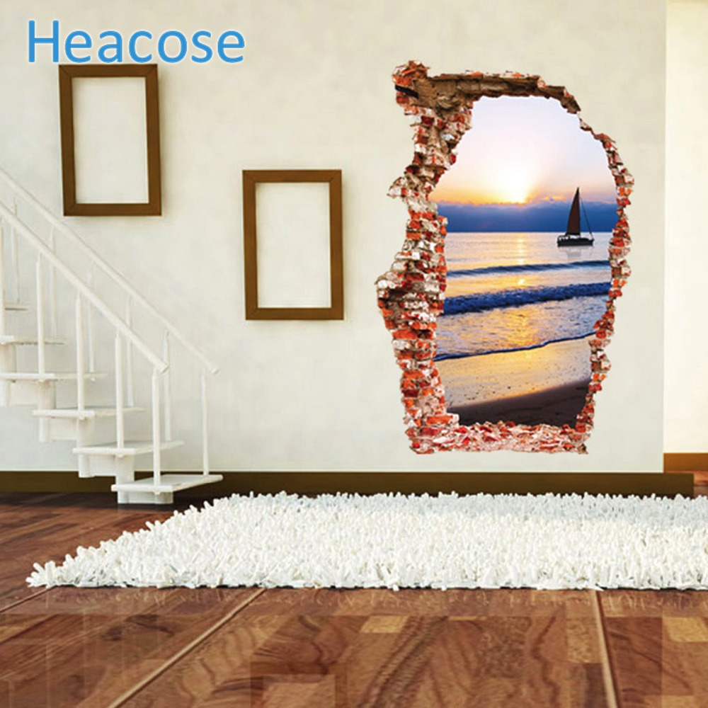 Posters for bedroom doors - Sea Wall Sticker Sunset Boating Bedroom Poster House Door Quarto Mural Wall Decals Home Decor 60 90cm