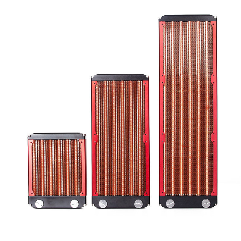 120 240 360mm Full Copper Computer Radiator Red Fin Copper Water Board Cold Row
