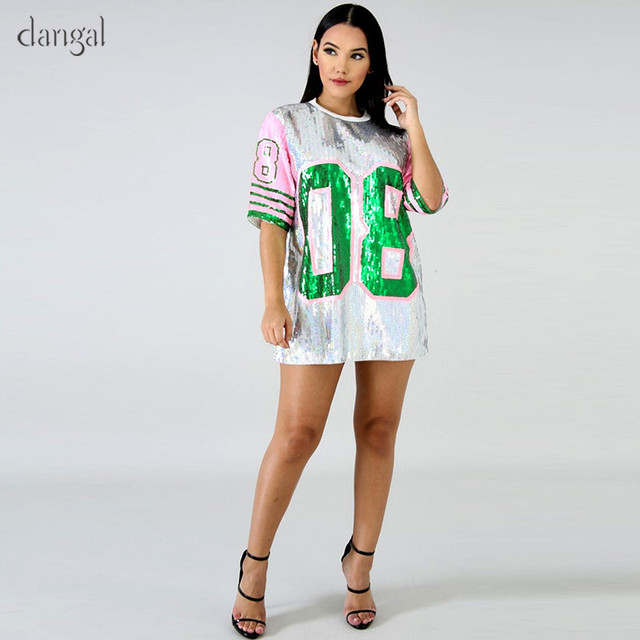 Dangal lentejuelas T camisa Top de lentejuelas largo T camisa mujeres O del  cuello de la camiseta para adolescentes Hip Hop ropa Fiesta Club suelta ropa  ... e8504a2eadc