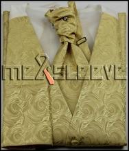 free shipping party dress gold bridegroom waistcoat wedding man s vest 4pcs
