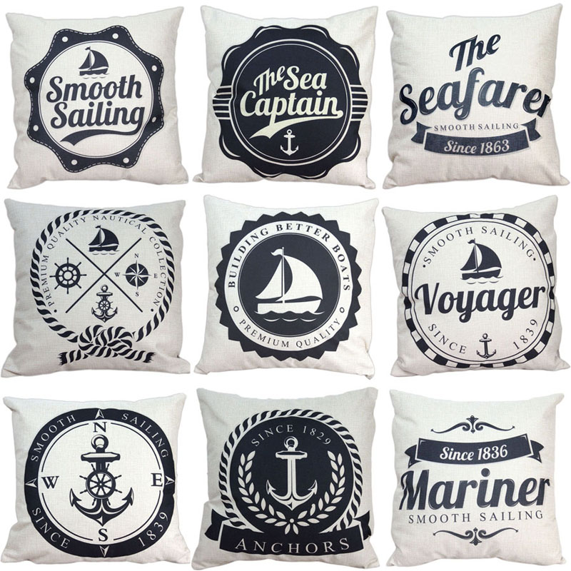 18 Marine Style Cushion Cover Simple Beige Anchors Pattern Cotton Linen Pillow Cover Cushion Cover PillowCase Home Decor