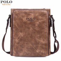 VICUNA POLO Famous Brand Retro Symmetrical Business Man Bags Vintage Italy Leather Men Messenger Bag Quality