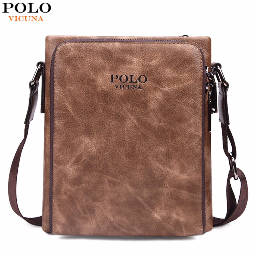 VICUNA POLO Famous Brand Retro Symmetrical Business Man Bags Vintage Italy Leather Men Messenger Bag Quality Men's Leather Bag vicuna polo high quality waxy pu leather mens messenger bags famous brand casual business man bag men shoulder bag crossbody bag