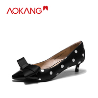 AOKANG women's pumps high heel Shoes genuine leather bownot brand fashion ladies shoes free shipping