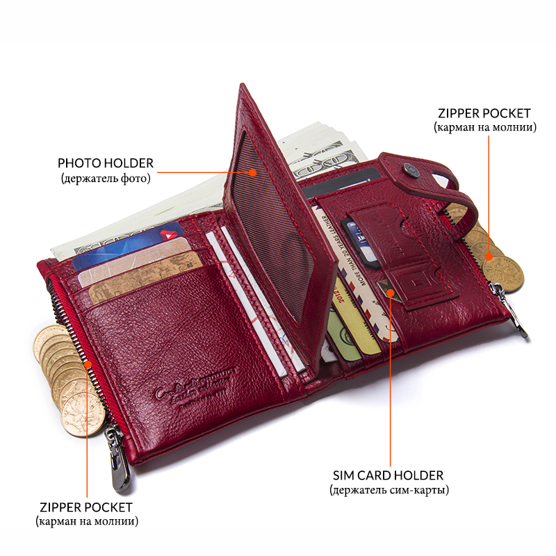 Image 3 - Contacts Fashion Short Women Wallet Female Genuine Leather Womens Wallets Zipper Design With Coin Purse Pocket Mini Wallet Redleather woman wallet zipperwallet zipperwoman wallet zipper -