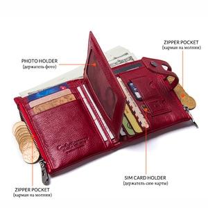 Image 3 - Contacts en cuir véritable mode court portefeuille femmes fermeture éclair mini Rfid porte monnaie Mini port carte portefeuilles pour femmes femmes portfel