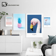 Ocean Sea Wave Flamingo Landscape Canvas Poster Noridc Style Pink Pineapple Wall Art Print Painting Decorative Picture(China)