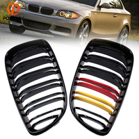 POSSBAY Car Front Kidney Grille Painting Gloss Black German Flap for BMW 1 Series E87 5 door 2007 2011 Facelift Racing Grille
