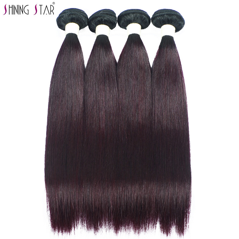 Ombre Brazilian Straight Hair Weave Colored Shiningstar Burgundy Human Hair Extensions 1/3/4 Pcs Grape Purple Non Remy No Tangle