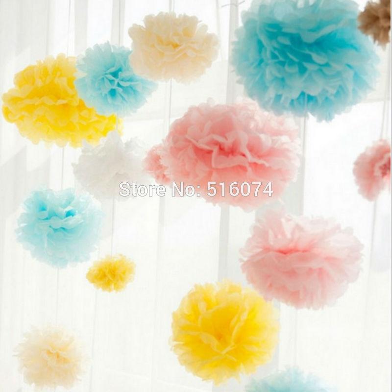 Hot sale Tissue Paper Pom Poms 20pcs/lot 20cm Wedding Party Decor Craft Paper Flowers Fur pompom