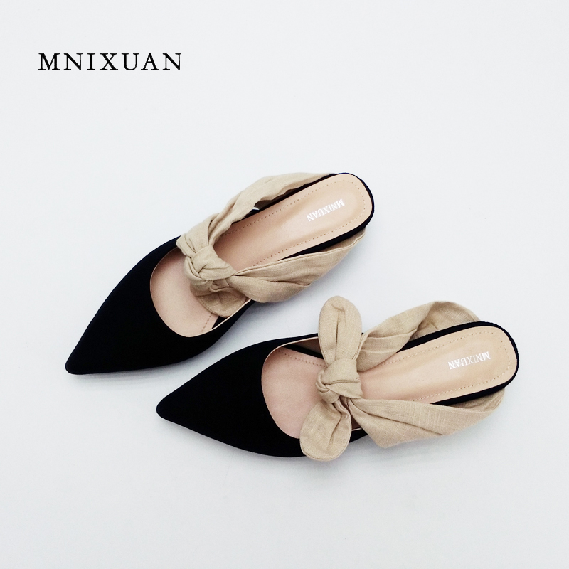 Women shoes slippers mules 2017 summer new solid casual thin heels slides sexy pointed toe genuine leather shoes black size 4 meotina brand design mules shoes 2017 women flats spring summer pointed toe kid suede flat shoes ladies slides black size 34 39