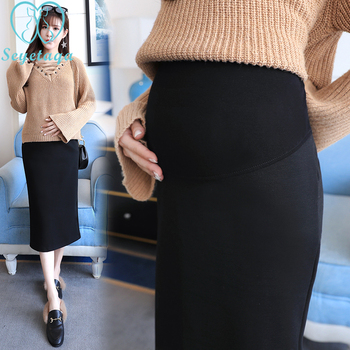225 #2018 jesień koreański moda spódnice ciążowe w pasie brzuch długie spódnice boczne rozcięcie spódnice dla kobiet w ciąży ciąża tanie i dobre opinie SEYETAQA COTTON CN (pochodzenie) Na co dzień Natural color Połowy łydki A-LINE Suknem WOMEN Stałe Macierzyństwo