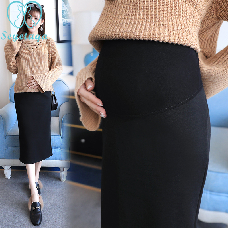 225# 2018 Autumn Korean Fashion Maternity Skirts Elastic Waist Belly Long Skirts Side Split Skirts For Pregnant Women Pregnancy