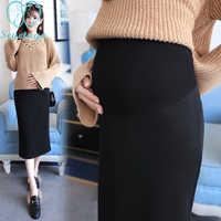 225# 2018 Autumn Korean Fashion Maternity Skirts Elastic Waist Belly Long Skirts Side Split Skirts for Pregnant Women Pregnancy