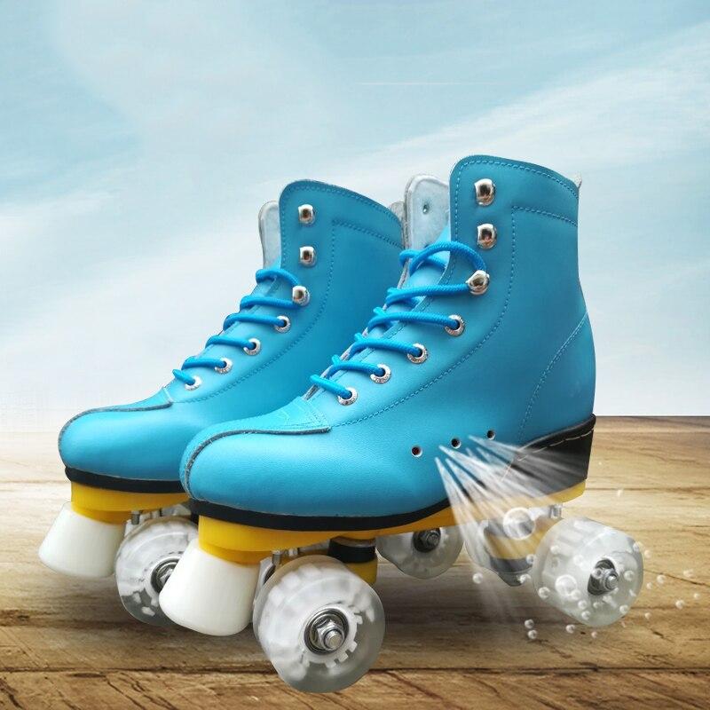 Nouveau Adulte Double-rangée patins à roulettes à Quatre roues patins Adultes Hommes et femmes en plein air Patins chaussures